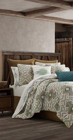 J Queen Phoenix Bedding collection combines the woven chenille jacquard with three faux suede colors; gold, teal, and cream. Rustic Comforter Sets, Rustic Bedding, Bedding Sets, Southwestern Bedding, Bedroom Hacks, Bedroom Ideas, Rustic Quilts, Luxury Cabin, Lodge Style