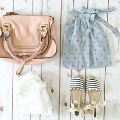 Anchor print top, chloe marcie small satchel, striped espadrilles shoes, white denim jeans, Summer outfit, petite fashion, flatlays - click the photo for outfit details!