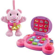 VTech - Happy Lights Bear and Baby's Learning Laptop Gift Set, Pink