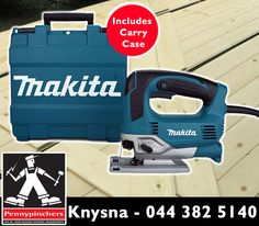The #Makita JV0600K Jig Saw should be in all handymen's toolboxes. Get yours now at #Pennypinchers #Knysna for only R1595 with a carry case! Offer valid until 14 March 2015, while stocks last, E&OE. #backtosite