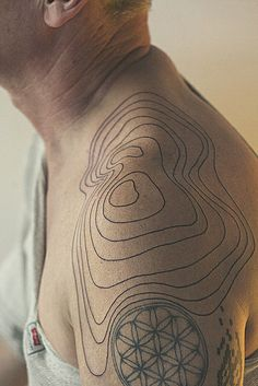 """Tattoo picture """"Relief Lines Shoulder Tattoo"""" is one of tattoo ideas listed in the Minimalistic Tattoos category. Feel free to browse other tattoo ideas Map Tattoos, Body Art Tattoos, Cool Tattoos, Tattoo Art, Abstract Tattoos, Buddha Tattoos, Geometric Tattoos, Black Tattoos, Tribal Tattoos"""