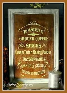 ART IS BEAUTY: Vintage Coffee and Spice sign from free scrap cupboard door DIY
