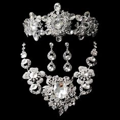 Bridal Wedding Jewelry Sets headwear Jewelry Womens Tiara & Crown Necklace Earrings Set Vintage Crystal Accessories Fashion #Affiliate