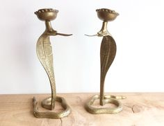 Big, beautiful brass candleholders shaped like cobras / snakes with hissing tongues.  India or Morocco made, vintage gold decor, found at NorthernScoutVintage.etsy.com Cobra Snake, Seventies Fashion, Candleholders, Bronze Sculpture, Snakes, Morocco, Brass, India, Candles
