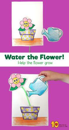 Water the Flower to Help It Grow! #straws#craftsforkids#preschool#printable