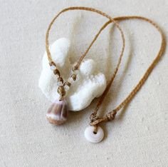 Woven Cone Shell and Moonstone Necklace / by mysmallhawaiianhome
