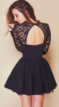 Women's fashion | Open back lace navy dress