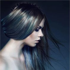 Image: James Augustus,  In this cool look, silver, sea foam and icy blue weave together to create a metallic shimmer. Dark roots and a tendrils of brown branching through the cool hues make the sha...