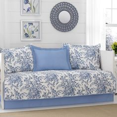 Bedford Delft 5 Piece Daybed Cover Set by Laura Ashley Blue - 218343 Daybed Cover Sets, Daybed Sets, Daybed Bedding, Comforter Sets, King Comforter, Duvet Covers, Ashley Blue, Laura Ashley Home, Ashley Brown