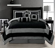Amazon.com: 7 Pieces Black and Grey Micro Suede Comforter Set Bed-in-a-bag King Size Bedding: Home & Kitchen