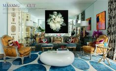 Brazilian editor and fashion enthusiast, Fabrizio Rollo got the chance to design the São Paulo apartment of celebrity hairstylist, Marcos Proenca. Fabrizio selected a custom blue and white contemporary rug in the living room to go with his eclectic design. You can find over eight patterns used in this one room.