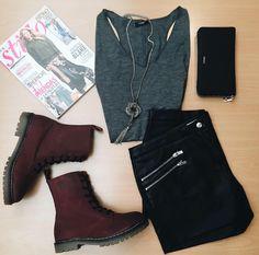 ¡Outfit preparado! Mañana... #botas militares color burgundy. ¡A rebelarse!