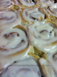 The best cinnamon rolls! Easy to make. Trisha shared this recipe that makes 50 rolls. She cut the recipe in half, using 2 eggs instead of 3. There is total time of 20 mins for rising.  For the icing, she didn't have the cream cheese for the version in this recipe. She just used 1 lb powdered sugar, dash salt, 2 tbsp melted butter and 1/3- 1/2 cup or so milk (to desired consistency).
