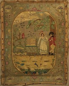 Sampler ~ 1826 ~ Catharine Godfrey/ Aged 9 years ~ faces of the figures are made of paper and the clothing is stitched around them