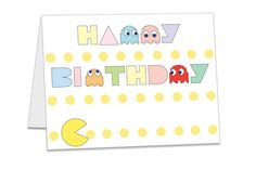 A set of 2 - Colorful Pac-Man Digital Typography Art Happy Birthday Blank Cards