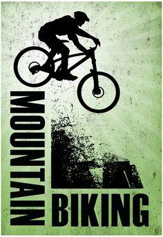 Mountain Biking Green Sports Poster Print Sports Poster - 33 x 48 cm Mountian Bike, Downhill Bike, Bike Poster, Radler, Cafe Racer Build, Bike Parking, Bicycle Art, Bike Design, Graphic
