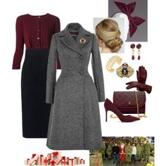 Queen Rose visits a Veterans Center for Christmas Casual Fall Outfits, Classy Outfits, Girl Outfits, Fashion Outfits, Polyvore Dress, Polyvore Outfits, Burgundy Outfit, Royal Clothing, Cosplay Outfits