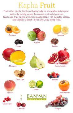 Ayurveda KAPHA - Fruits to favor! More Kapha Tips: http://www.foodpyramid.com/ayurveda/kapha-dosha/ #kapha #dosha #ayurveda