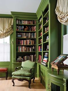 Lovely Green Book Case want this color in my library/craftroom if i get one.