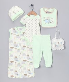Take a look at this Baby Gear Green Elephant 'Sleepy Baby' Layette Set on zulily today!
