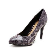 Jessica Simpson Marya Amazon Snakeskin Pump High Heels Dark Grey ($40) ❤ liked on Polyvore