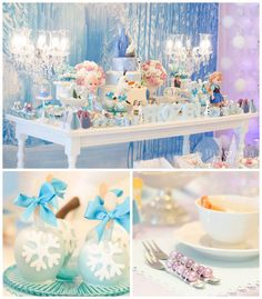 Frozen themed birthday party via Kara's Party Ideas//POPcakes en cucharitas ; Frozen Themed Birthday Party, 6th Birthday Parties, 3rd Birthday, Elsa Birthday, Disney Birthday, Birthday Ideas, Frozen Princess, Princess Party, Anna Frozen