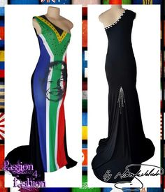 SA flag with Mandela face, evening dress with a single shoulder and a train. Beaded detailing. #mariselaveludo #fashion #traditionalwear #passion4fashion #flagdress #eveningdress #saflag