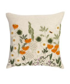 Enjoy the delicate beauty of a country garden captured on a cushion. You can almost hear the bees buzzing… Priced at £15.