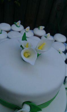 2012 Calla Lillie Wedding Cake.  Handmade and painted Fondant Calla Lillies.