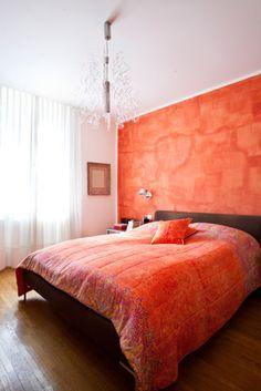 Orange Venetian Plaster Wall Bedroom.