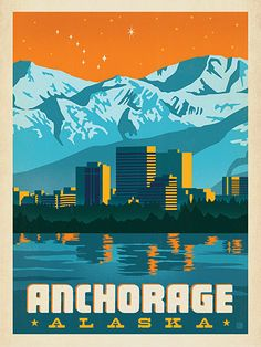 Anchorage, Alaska - Anderson Design Group has created an award-winning series of classic travel posters that celebrates the history and charm of America's greatest cities and national parks. This print features a striking evening view of the Anchorage skyline. Printed on heavy gallery-grade matte finished paper, this print will look great on any home or office wall.