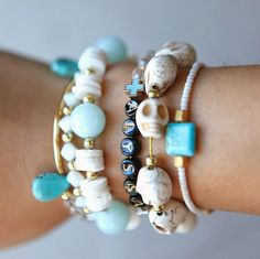 hello, whimsy.: TUTORIAL: ELASTIC STRETCH BRACELETS Yes, it's easy, but who knew elastic bracelets could look so cool?