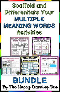 Multiple Meaning Words can be tricky for students of all ages. This bundle is perfect to differentiate and scaffold for students in third, fourth, and fifth grade who need to build their vocabulary and work on multiple meaning words with varying tenses. Teaching Materials, Teaching Resources, Teaching Ideas, Shades Of Meaning, Multiple Meaning Words, Word Puzzles, Spring Activities, Fifth Grade, Word Of The Day
