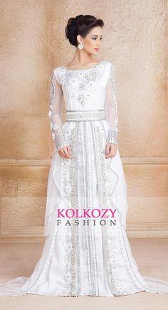 White Color Designer Moroccan Kaftan Dress - Handmade Arabic Long Sleeve Wedding Caftan