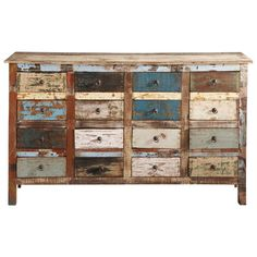 Recycled wood counter chest, multicoloured W 150cm