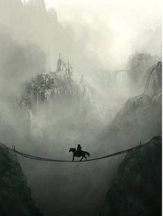 Fantasy horse on a suspended bridge in misty mountains. Fantasy Kunst, Fantasy Art, Fantasy Castle, Affinity Photo, Foto Art, Fantasy Landscape, Story Inspiration, Fantasy World, Fantasy Life