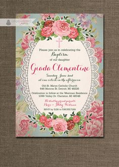 Shabby Chic Baptism Invitation Lace Roses by digibuddhaPaperie, $20.00