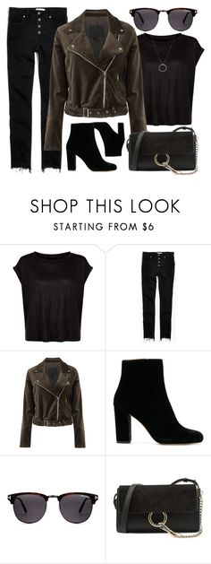 """Dark Look"" by smartbuyglasses ❤ liked on Polyvore featuring Madewell, Paige Denim, Chloé, Roberto Coin, black and brown"