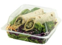 7x7x3   Compostable Plastic Clamshell Packaging   250 Count