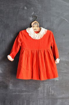 Vintage 1960s Baby Girl Dress Red Velvet and Lace by drowsySwords, $35.00
