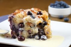 Blueberry Bread Pudding with Creme Anglaise.