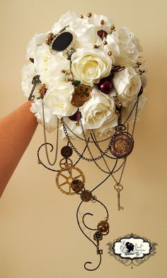 A stunning bespoke customer order of a Steam Punk inspired bouquet