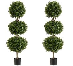 """TWO 56"""" Boxwood 3 Ball Topiary Artificial Tree W Pot In Outdoor Plant Patio Fake"""