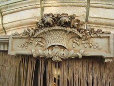 Stunning Antique French Wood Pediment Canopy Ciel de Lit Louis XVI Roses Garland