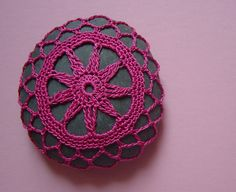 Crocheted Lace Stone Hot Pink Flower Handmade by Monicaj on Etsy