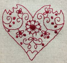 Red work hearts 1 Valentine Hearts, Valentine Day Crafts, Love Valentines, Embroidery Hearts, Hand Embroidery, Lost Art, Modern Embroidery, Sewing Notions, Point