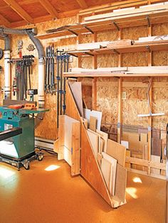 Wood storage - I love that the plywood storage unit swivels out ...