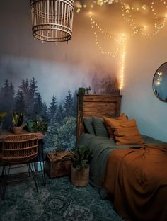 Forest in the Mist Mural Removable Wallpaper Self Adhesive Room Ideas Bedroom, Home Bedroom, Loft Style Bedroom, Bedroom Decor Dark, Bedroom Modern, Bedroom Wall, Master Bedroom, Forest Bedroom, Forest Theme Bedrooms