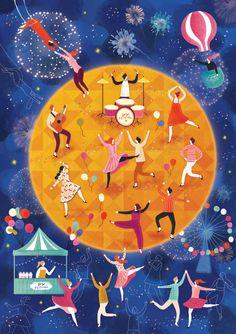 """달빛축제 가장 커다란 달이 뜰때, 마법같은 시간이 시작된다. 춤과 음악이 어우러진 달빛속의 신나는 축제. 고민도 걱정도 모두 잊고, 흥에 취한 달빛 속에 몸을 맡겨 신명나게 즐겨본다. 이 시간만큼은 온전히 즐거움으로 채워지기를. 나도, 당신도. 이마트 추석선물 특선 """"고고페스티벌 """" 이벤트 포스터 일러스트 작업입니다. 축제의 흥겨운 느낌을 많이 담아있기를 원하셔서 흥이 가득한 사람들, 달밤에 취한 축제의 분위기를 흠뻑 내고 싶었습니다. 최종 작업물에서 배경 컬러가 밝게 변경되었습니다."""