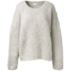 Chloé Pearl Grey Mohair, Virgin Wool And Cashmere Sweater ($1,070) ❤ liked on Polyvore featuring tops, sweaters, round neck sweater, oversized sweater, gray top, gray sweater and chloe top